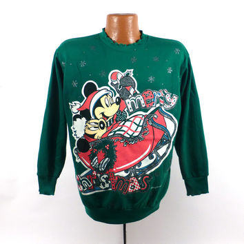 Ugly Christmas Sweater Vintage Sweatshirt Mickey Mouse Party Xmas Tacky Holiday M
