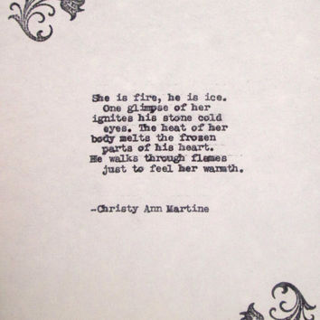 Gift for Her Love Poem for Girlfriend or Wife for romantic anniversary birthday She is Fire Pretty Typewriter Poems Love Poetry Typed Quotes