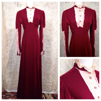 Sale !!! 1970s Valentine Bias Cut Silk Velvet Maxi Dress / Romantic Victorian Style Burgandy Silk Velvet and Lace Gown
