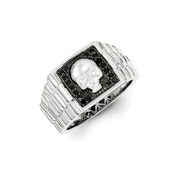 1/5 Ctw Black Diamond Square Skull Sterling Silver Tapered Ring