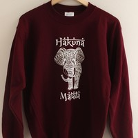 Hakuna Matata Elephant Burgundy Graphic Sweatshirt