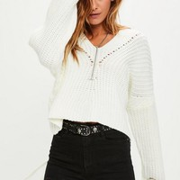 Missguided - White Slouchy Knitted Sweater