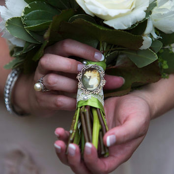 Custom Bouquet Pin / Photo Charm Pin / Boutonniere Brooch