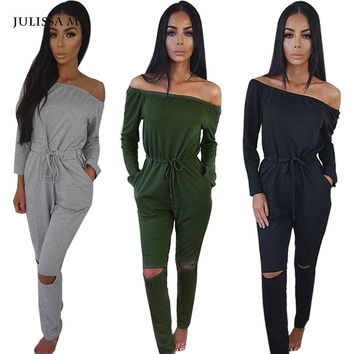 6 Color New Rompers Womens Jumpsuit 2016 Sexy Off Shoulder Long Sleeve Autumn Elegant Bodycon Bodysuit Bandage Jumpsuits