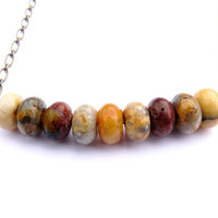 Crazy Lace Agate Rondelle Necklace - Antiqued Gold Chain, Wire Wrapped, Autumn Colors, Rustic Necklace