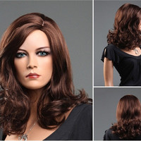 Women's Medium & Long Bouffant Curly Hair Wig with Large Wave Curls (Dark Brown)