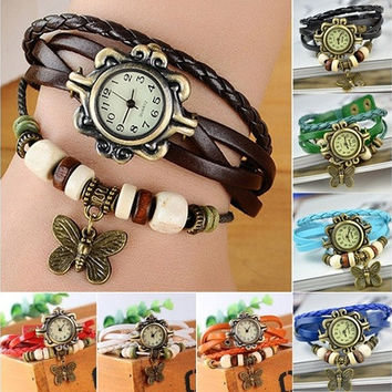 Fashion Butterfly Charm Bracelet Braided Leather Quartz Watch [8834041868]