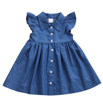 New Adorable Toddler Baby Kids Girl Princess Party Dress Summer Sleeveless Button Denim Sundress Clothes