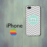 Monogrammed iPhone Case in Gray and Aqua Chevron Personalized iPhone 4 Case or iPhone 5 Case