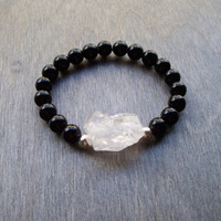 Black Agate stretch Bracelet with white rock quartz focal nugget, Yoga bracelet perfect for stacking, beaded bracelet