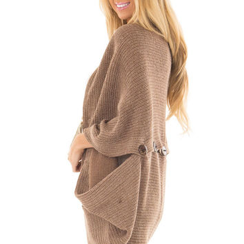 Mocha Cardigan with Button Details
