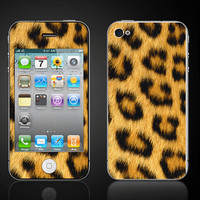 Faux Cheetah Skin iPhone 4 4S Vinyl Decal Wrap Skin by ItsASkin