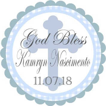 "Boys Christening or Baptism Stickers Or Favor Tags - 2.5"" Round"