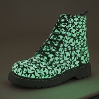 T.U.K. Shoes Anarchic 7 Eye Alien Glow In The Dark Combat Boots