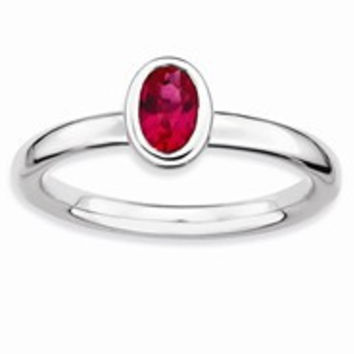 Sterling Silver Oval Ruby Ring