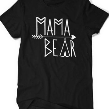Women Mama Bear Graphic t shirt 100% Cotton O-Neck Tees Shirts  t-shirt Funny Custom t-shirt Free Shipping
