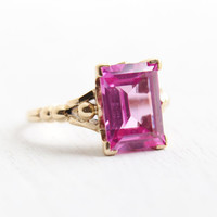 Vintage 10k Yellow Gold Pink Sapphire Ring - Art Deco 1930s Size 7 Emerald Cut Created Stone Fine Jewelry