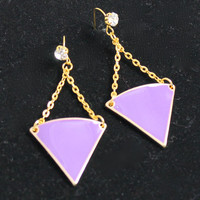Purple Triangle Gold Chain Chandelier Earrings with a Rhinestone Accented French Wire
