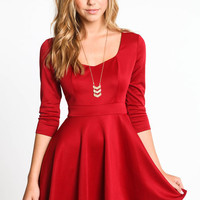 BUTTONED BACK SKATER DRESS