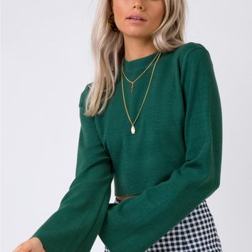 Side By Side Long Sleeve Crop Knit