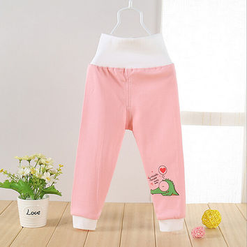 High Waisted Baby Pants Cute Soft Outerwear Boy Girl Trousers Cotton Infant Clothes Belly Care Pants Baby Clothing