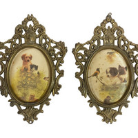 Ornate Oval Frames Fabric Animal Pictures Vintage Artmark Italy Framed Cats Dogs Birds Chicks Gold Metal Baroque Florentine Style Wall Decor