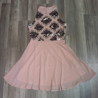 Valentine Dress - Pink Tribal Sequin