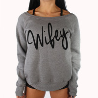 Wifey off shoulder women's sweater.