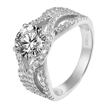 Solitaire Round Cut Ring Wedding Womens Bridal Engagement Sterling Silver CZ New