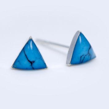 Simple fashion  triangle turquoise 925 sterling silver earrings,a perfect gift