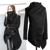 Women Female Long Jacket Warm Woolen Coat Blazer Zip Parka Windbreaker  Black 7_S = 1828254788