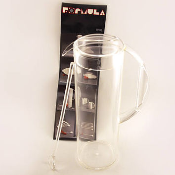 Vintage Mepal Rosti clear Pitcher Jug and stirrer. Formula range, 80s partyware, retro homeware.
