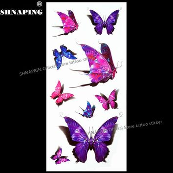 SHNAPIGN 3d Temporary Tattoo Body Art Flash Tattoo Stickers 19*9cm Waterproof Styling Tatoo Home Decor Sticker Purple Butterfly