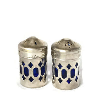 Vintage  Caged Silver Plate Cobalt Blue Glass Salt & Pepper Shaker Set