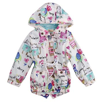 2016 Children Boys Girls Long Sleeve Animals Hand Print Jacket Coat Hooded Outerwear Coat Craters Bobo Choses NYC
