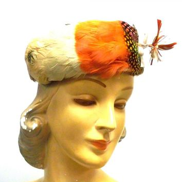 Vintage Pheasant Feather Pillbox Hat  1950s Oranges/ Polka Dots Modern Miss