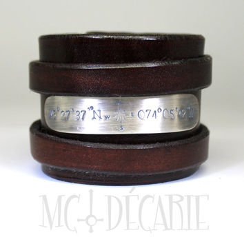 Large leather bracelet with personalized silver plate, 56 mm wide, roman wrapped natural leather bracelet, sterling silver, coordinates