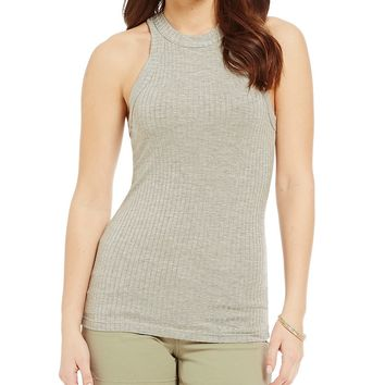 Moa Moa Rib-Knit High-Neck Tank | Dillards