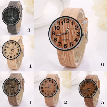 Women Vintage Wood Texture Grain Digital Quartz Watch = 1956922948