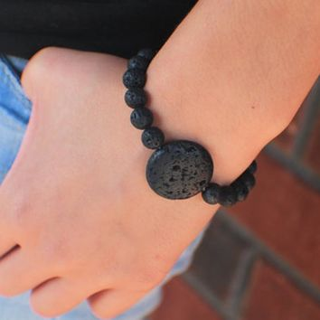 Black Lava Bead Bracelet Essential Oil Diffuser