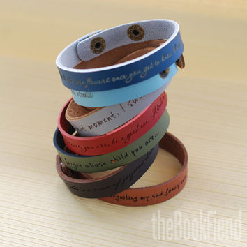 "Your favorite quote --- custom engraved 1/2"" leather bracelet"