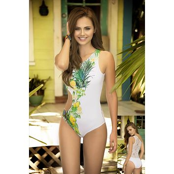 White Tropical Lemon Print One Shoulder Open Side Lace Back One Piece Swimsuit