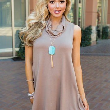 The Way to Your Heart Cowl Neck Tank Dress Taupe