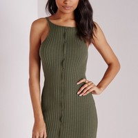 BUTTON FRONT RIBBED KNITTED DRESS KHAKI