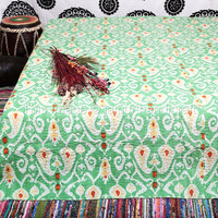 Go Green, Queen Bed Cover in Soft Cotton Fabric, Hand Quilted, Floral Kantha Throw Blanket, Quilt Ikat Bedding Bohemian Bedspread Green