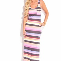 PINK BLACK MULTI STRIPES SLEEVELESS MAXI DRESS
