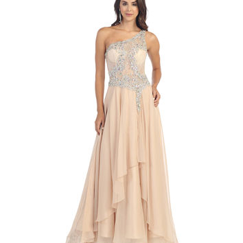 Nude Sheer Lace Bodice Gown 2015 Prom Dresses