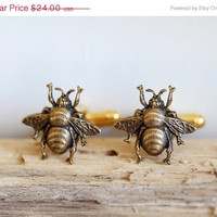 on sale Bee Cufflinks Brass Bees Vintage Inspired Style Gothic Victorian Men's Cuff Links Accessories Jewelry & Gifts