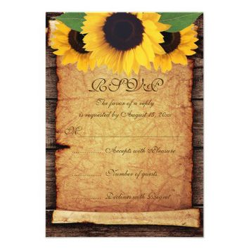 Sunflowers, scroll & old wood fall wedding RSVP Invites from Zazzle.com