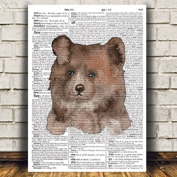 Bear art Dictionary print Animal print Grizzly poster RTA1718